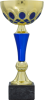 Gold and Blue Metal Cup on Premium Black Marble Base. Three Sizes Multi-Colored Cup Trophies