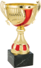 Gold and Red Cup with Handles on Premium Black Marble Base. Three Sizes Multi-Colored Cup Trophies