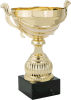 Gold Metal Cup with White Details on Black Marble Base – 3 Sizes Multi-Colored Cup Trophies