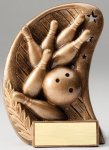 Curve Action Series Sculpted Antique Gold Resin Trophy -Bowling Bowling Trophy Awards