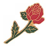 Long Stem Red Rose Lapel Pin Civic Association Lapel Pins