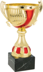 Gold and Red Cup with Handles on Premium Black Marble Base. Three Sizes Gold Cup Trophies