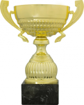 Classic Gold Metal Cup on Premium Black Marble Base. Five Sizes Gold Cup Trophies