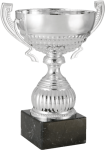Classic Silver Metal Cup on Premium Black Marble Base. Five Sizes Silver Cup Trophies